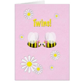 Cartes Filles jumelles de nouvelles félicitations de bébé