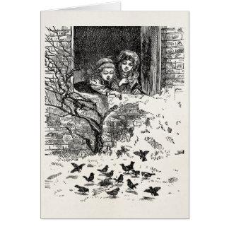 Cartes Filles victoriennes vintages alimentant à oiseaux