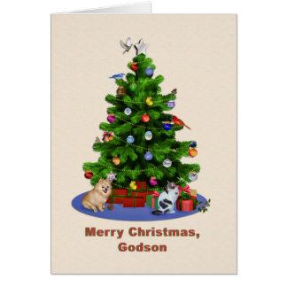 Cartes Filleul, arbre de Joyeux Noël, oiseaux, chat,