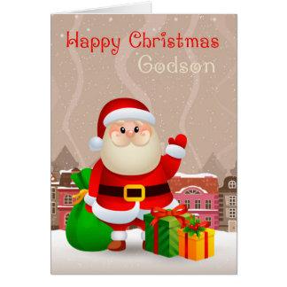 Cartes Filleul Père Noël avec le sac et les cadeaux,