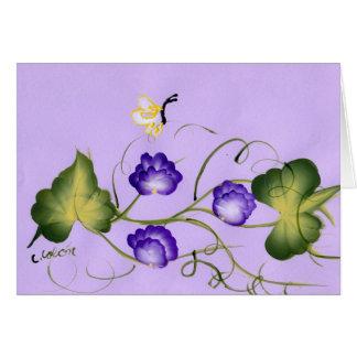 Cartes Fleur et papillon de pois doux