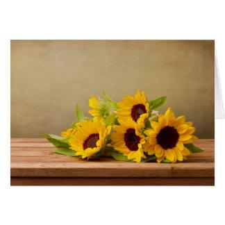 Cartes Fleur jaune rustique de tournesol bonjour, Merci