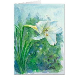 Cartes Fleur Joyeuses Pâques d'aquarelle de lis blanc