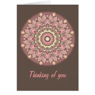 Cartes Fleur rose de l'amour - mandala