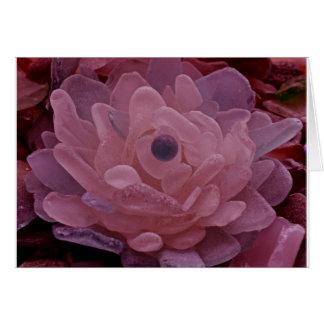 Cartes Fleur rose et pourpre en verre de mer
