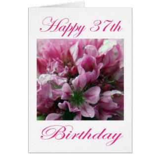 Cartes Fleur rose et verte de joyeux trente-septième