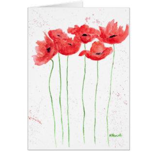 Cartes Fleurs de rouge de pavots
