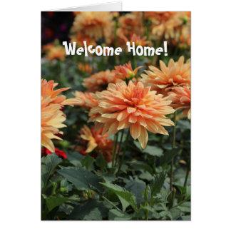 Cartes Fleurs oranges à la maison bienvenues de dahlia