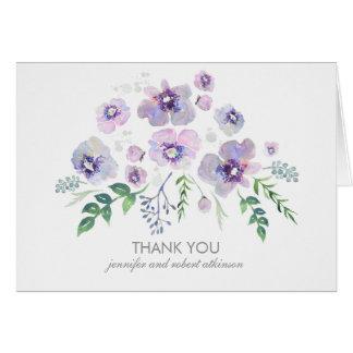 Cartes Fleurs pourpres bleues d'aquarelle épousant le