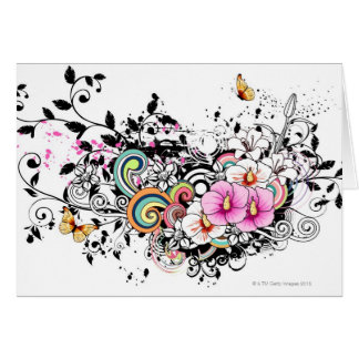 Cartes Fleurs roses et blanches