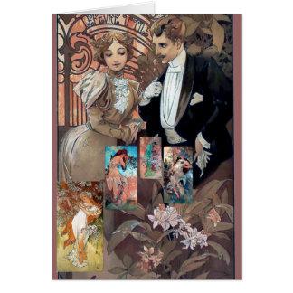 Cartes flirt d'art de mucha de rapport d'amour de collage