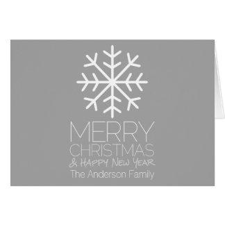 Cartes Flocon de neige moderne de Joyeux Noël - gris