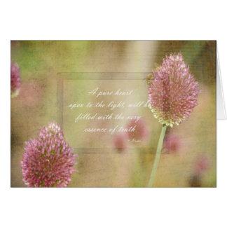 Cartes Floral rose inspiré avec la citation de Rumi