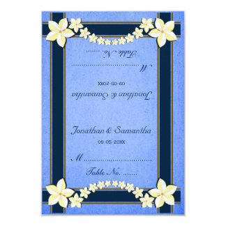 Cartes florales bleues rustiques d'endroit de carton d'invitation 8,89 cm x 12,70 cm