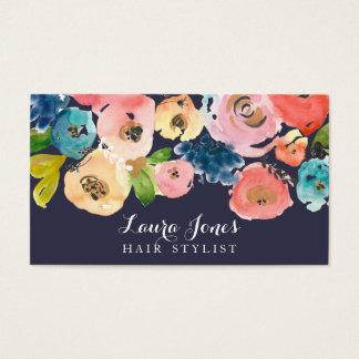 Cartes florales de coiffeur d'aquarelle de marine