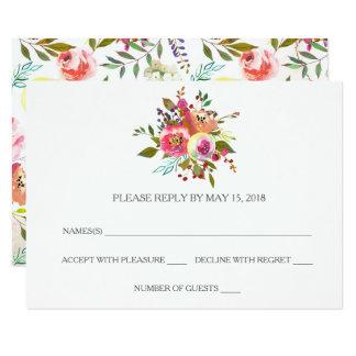 Cartes florales de l'aquarelle romantique RSVP
