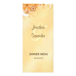 Cartes florales de menu de dîner de ketmie doubles cartes