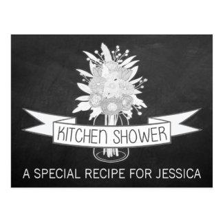 Cartes florales de recette de douche de cuisine de