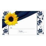 Cartes florales d'endroit de mariage de damassé de carte de visite standard
