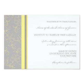 Cartes florales grises de faire-part de mariage de carton d'invitation  12,7 cm x 17,78 cm