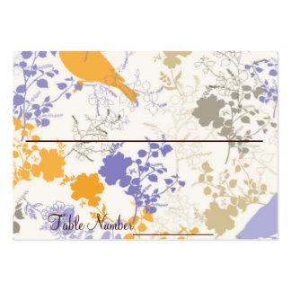 Cartes florales jaunes et pourpres de nombre de carte de visite grand format