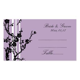 Cartes florales noires pourpres de couvert de mari carte de visite