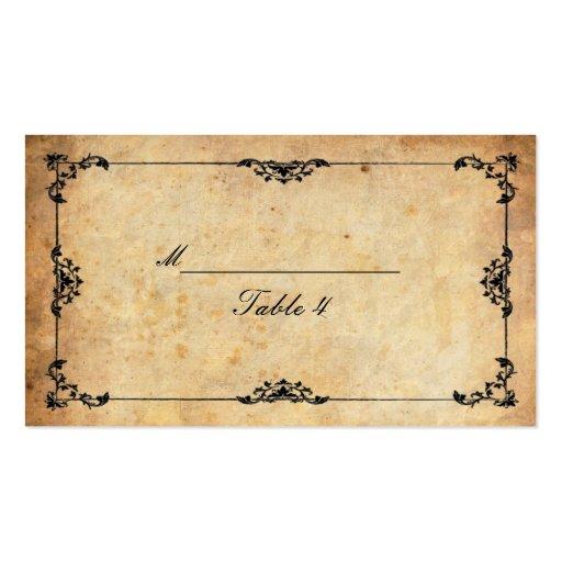 Cartes florales noires vintages d'endroit de Table Cartes De Visite Personnelles