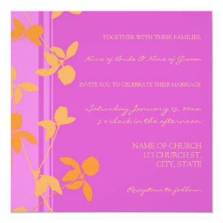 Cartes florales oranges roses de faire-part de