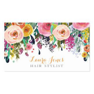 Cartes florales peintes de rendez-vous de coiffeur carte de visite standard