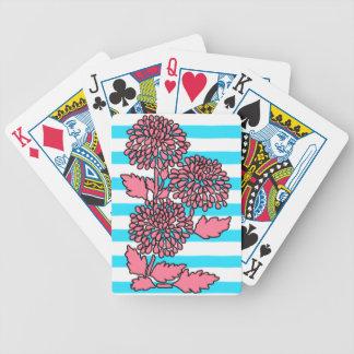 Cartes florales rayées bleues et blanches d'Aqua Jeux De Cartes