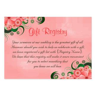 Cartes florales roses de liste de cadeaux de carte de visite grand format