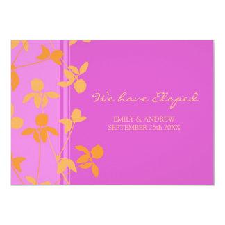 Cartes florales roses oranges de faire-part de carton d'invitation  12,7 cm x 17,78 cm