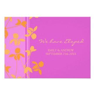 Cartes florales roses oranges de faire-part de fug