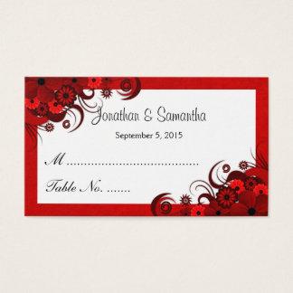 Cartes florales rouges et blanches d'endroit de