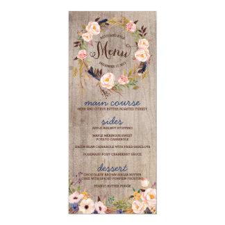 Cartes florales rustiques de menu de mariage carton d'invitation  10,16 cm x 23,49 cm
