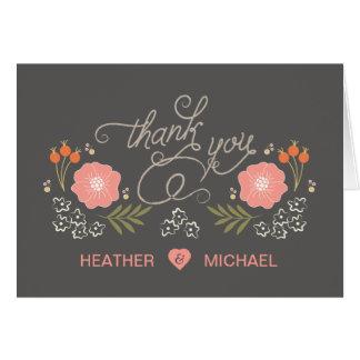 Cartes florales rustiques mignonnes de Merci