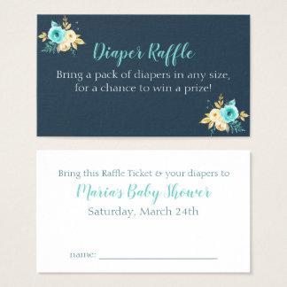 Cartes florales turquoises de baby shower d'or de