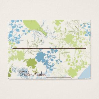 Cartes florales vertes et bleues de nombre de