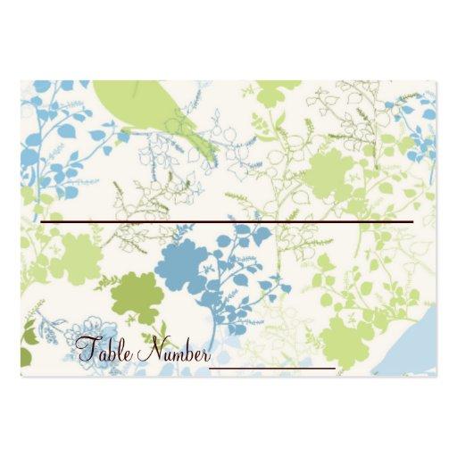 Cartes florales vertes et bleues de nombre de modèles de cartes de visite