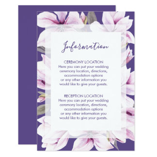 Cartes florales violettes de l'information de