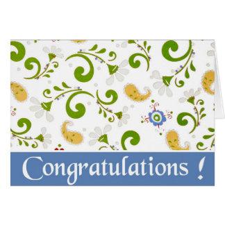 Cartes Fractale des félicitations de bleu de fleurs