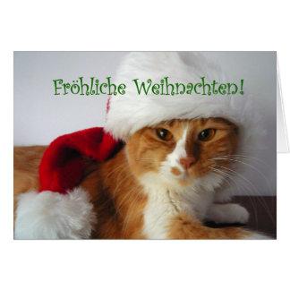 Cartes Fröhliche Weihnachten - chat utilisant le