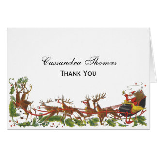 Cartes Frontière de renne de Noël Père Noël Sleigh de
