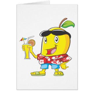 Cartes Fruit heureux de mangue dans le vêtement de plage