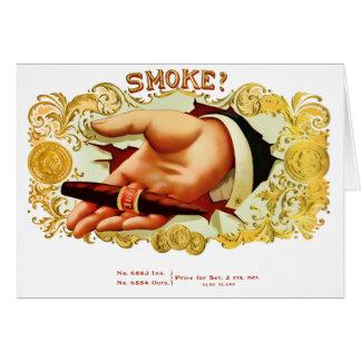 Cartes Fumée ? Étiquette vintage de cigare