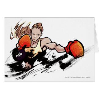 Cartes Gant de boxe de port de femme