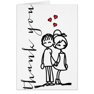 Cartes Garçon et fille dans des griffonnages d'amour