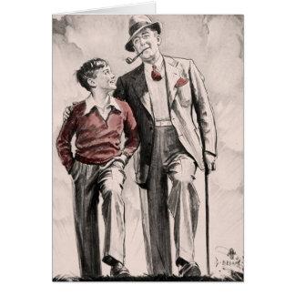 Cartes Garçon vintage des années 1930 de père de fils de