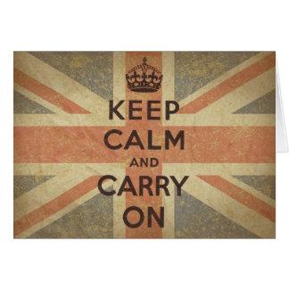 Cartes Gardez le calme et continuez avec le drapeau