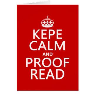 Cartes Gardez le calme et le corrigez sur épreuves (le